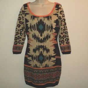 Flying Tomato Sz M Knit Dress Aztec, Leopard Print